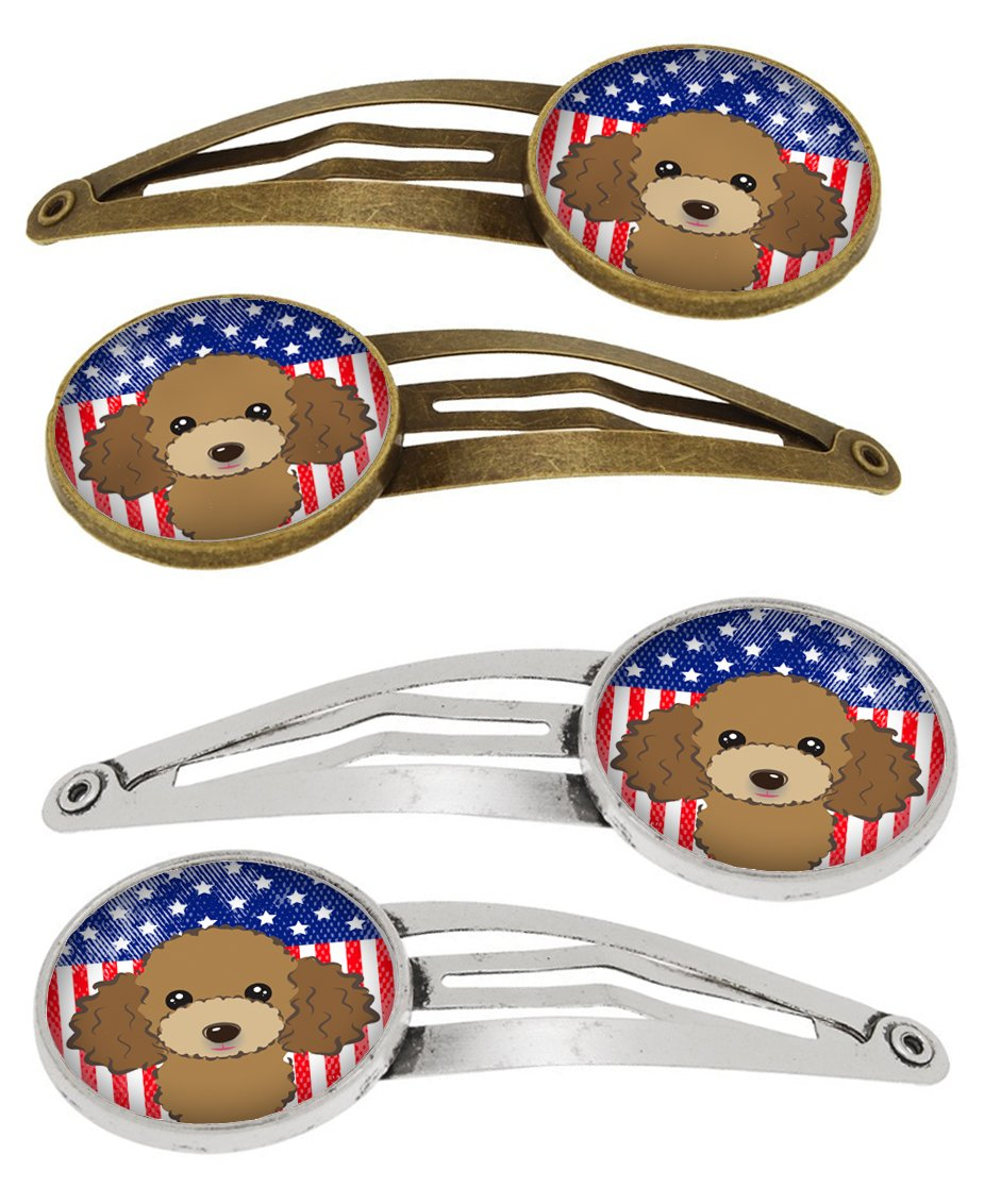 Buy this American Flag and Chocolate Brown Poodle Set of 4 Barrettes Hair Clips BB2186HCS4