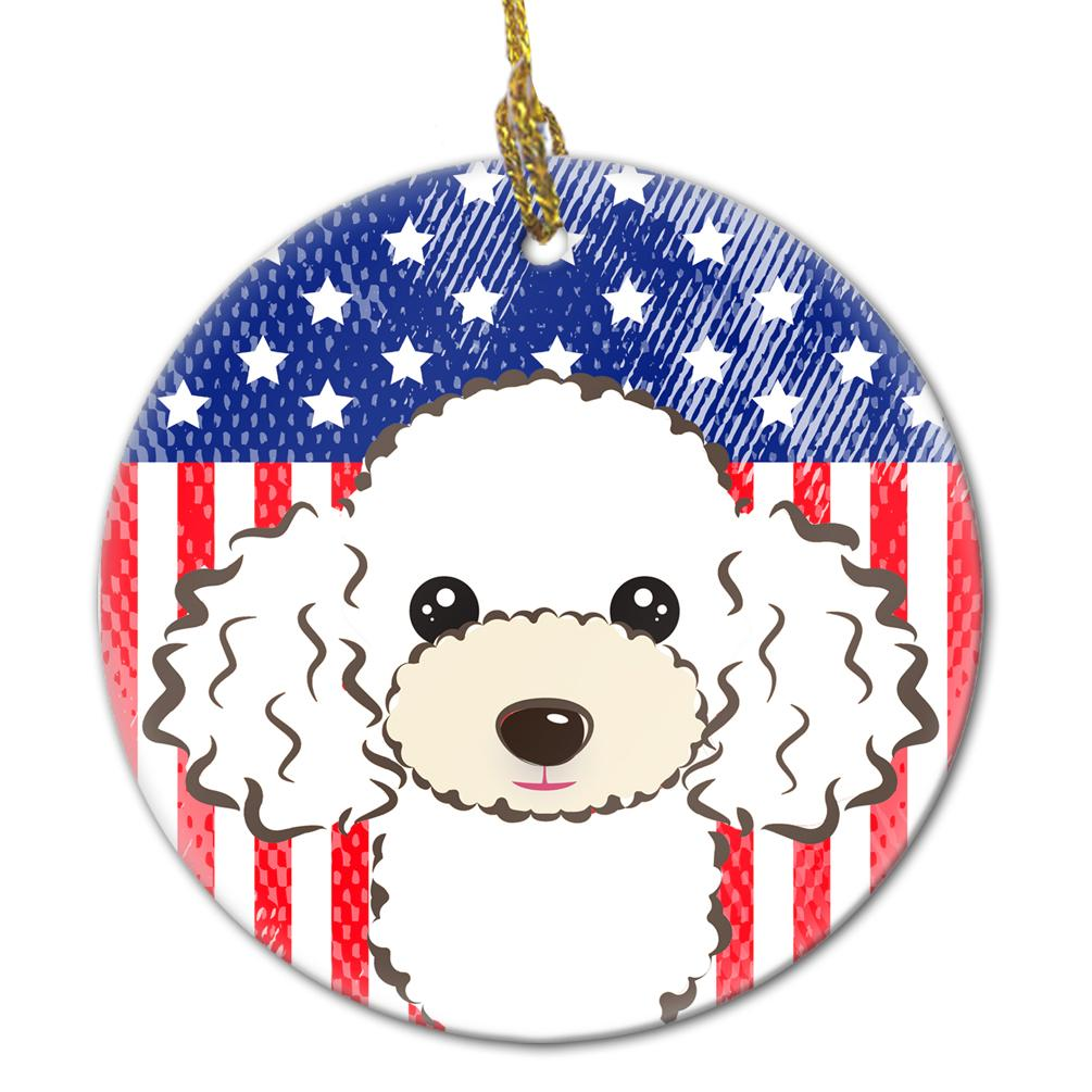 American Flag and White Poodle Ceramic Ornament BB2187CO1 by Caroline's Treasures