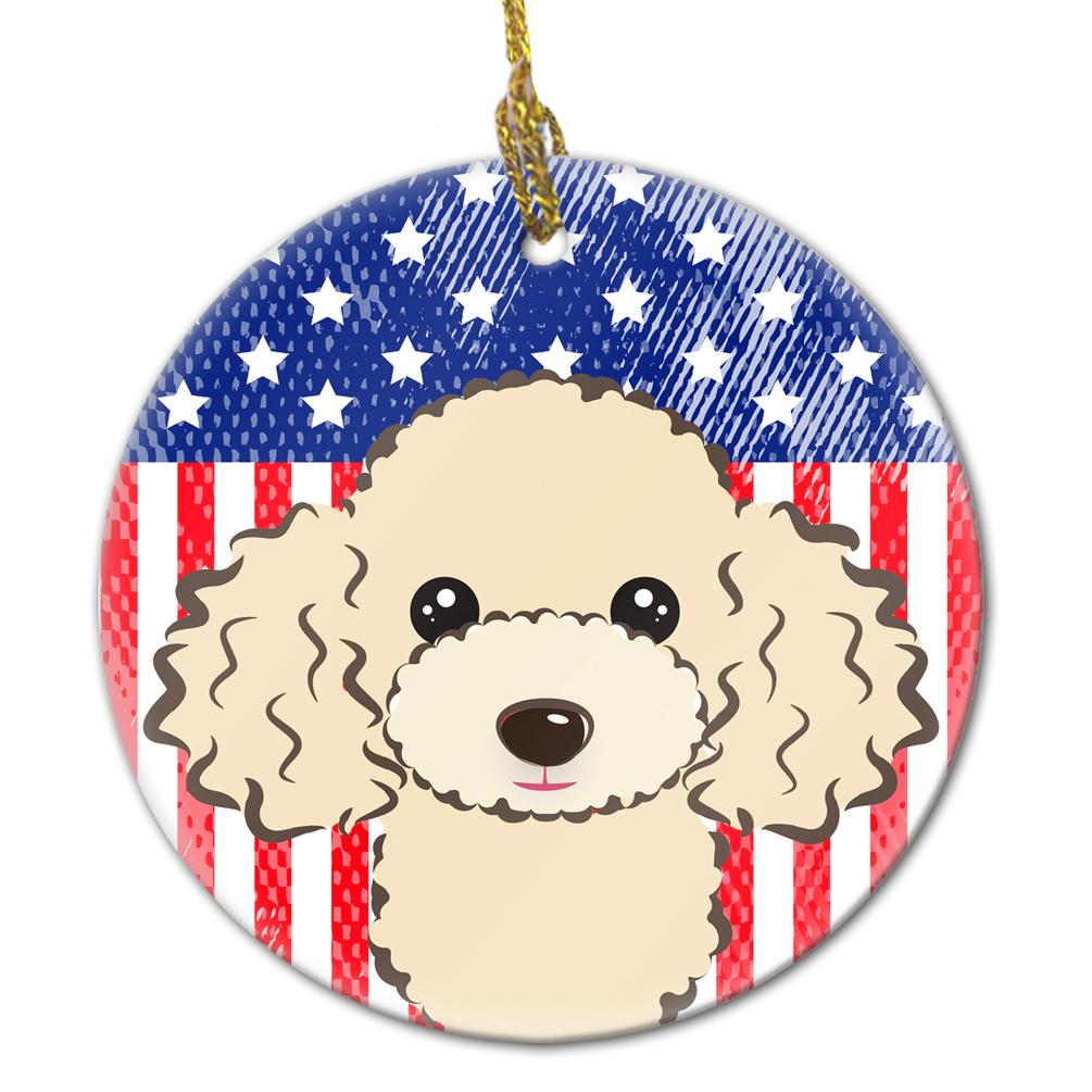 American Flag and Buff Poodle Ceramic Ornament BB2188CO1 by Caroline's Treasures