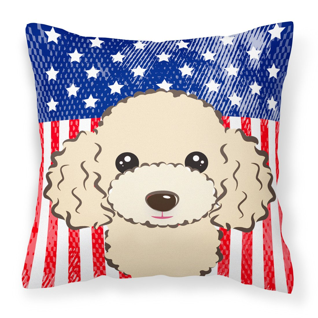American Flag and Buff Poodle Fabric Decorative Pillow BB2188PW1414 - the-store.com