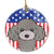 Buy this American Flag and Silver Gray Poodle Ceramic Ornament