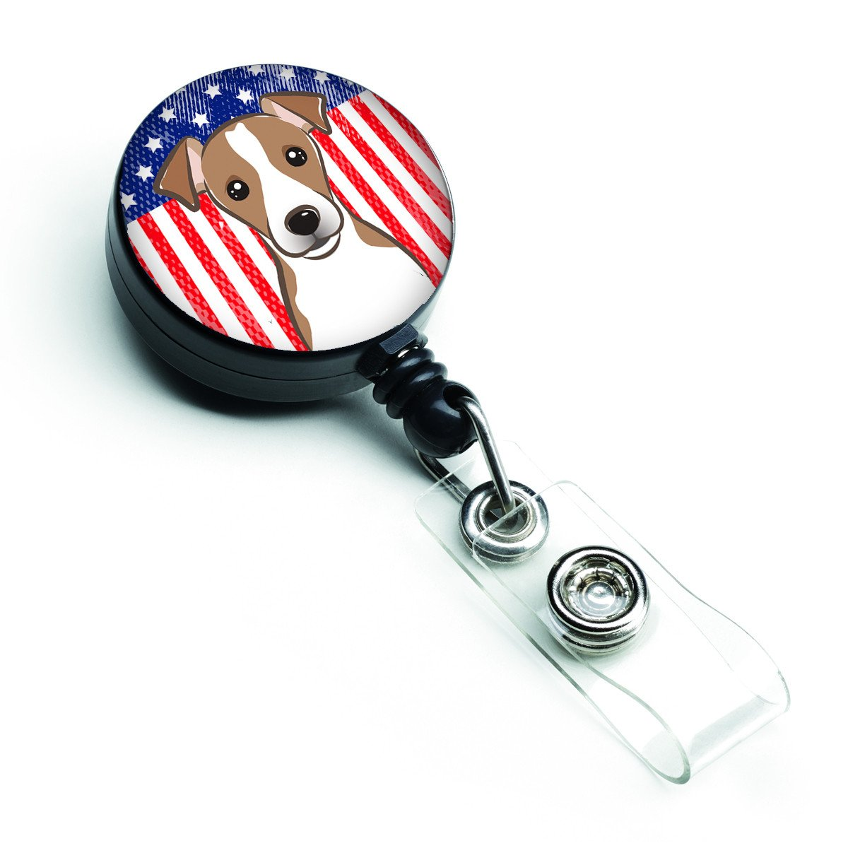American Flag and Jack Russell Terrier Retractable Badge Reel BB2190BR by Caroline's Treasures