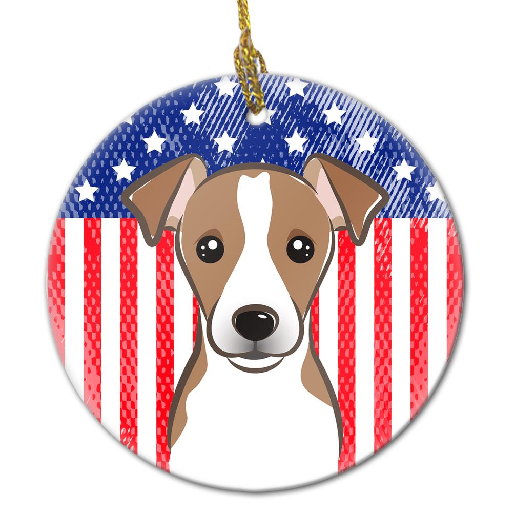 American Flag and Jack Russell Terrier Ceramic Ornament BB2190CO1 by Caroline's Treasures