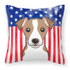 American Flag and Jack Russell Terrier Fabric Decorative Pillow BB2190PW1414 - the-store.com