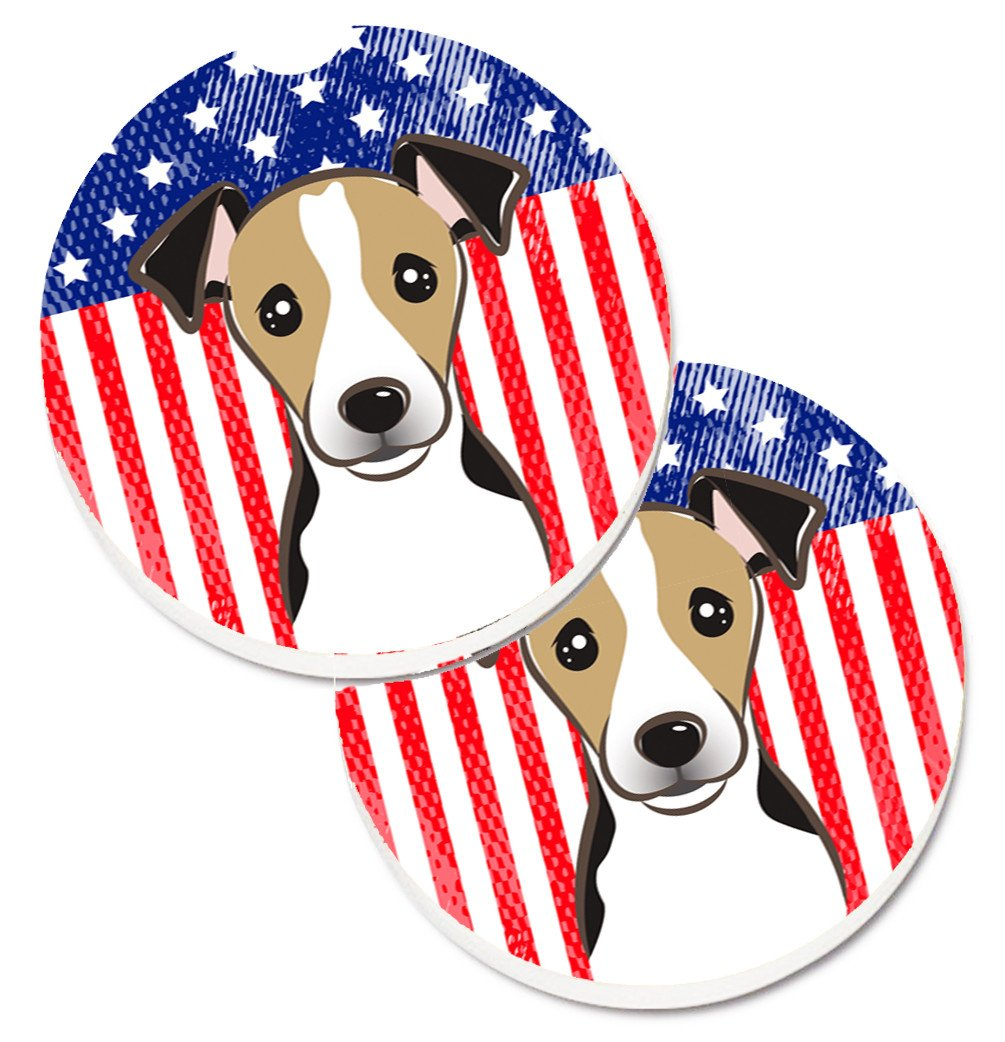 American Flag and Jack Russell Terrier Set of 2 Cup Holder Car Coasters BB2191CARC by Caroline's Treasures