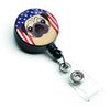 American Flag and Fawn Pug Retractable Badge Reel BB2192BR by Caroline's Treasures