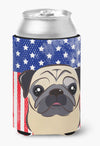 Buy this American Flag and Fawn Pug Can or Bottle Hugger BB2192CC