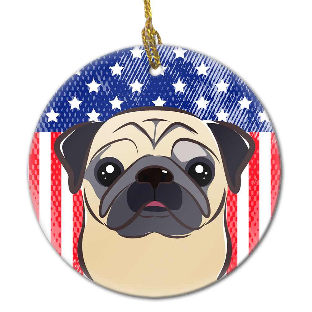 American Flag and Fawn Pug Ceramic Ornament BB2192CO1 by Caroline's Treasures