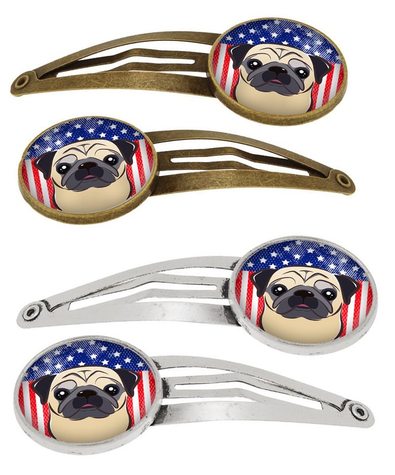 Buy this American Flag and Fawn Pug Set of 4 Barrettes Hair Clips BB2192HCS4