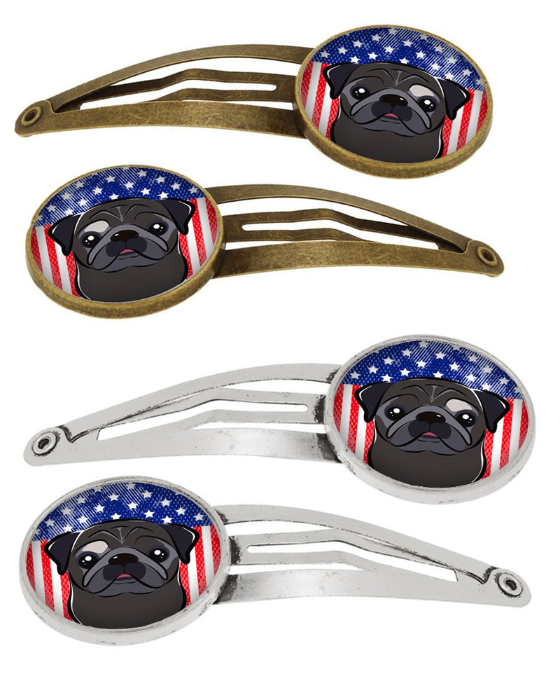 Buy this American Flag and Black Pug Set of 4 Barrettes Hair Clips BB2193HCS4