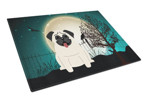 Buy this Halloween Scary Pug Cream Glass Cutting Board Large BB2194LCB