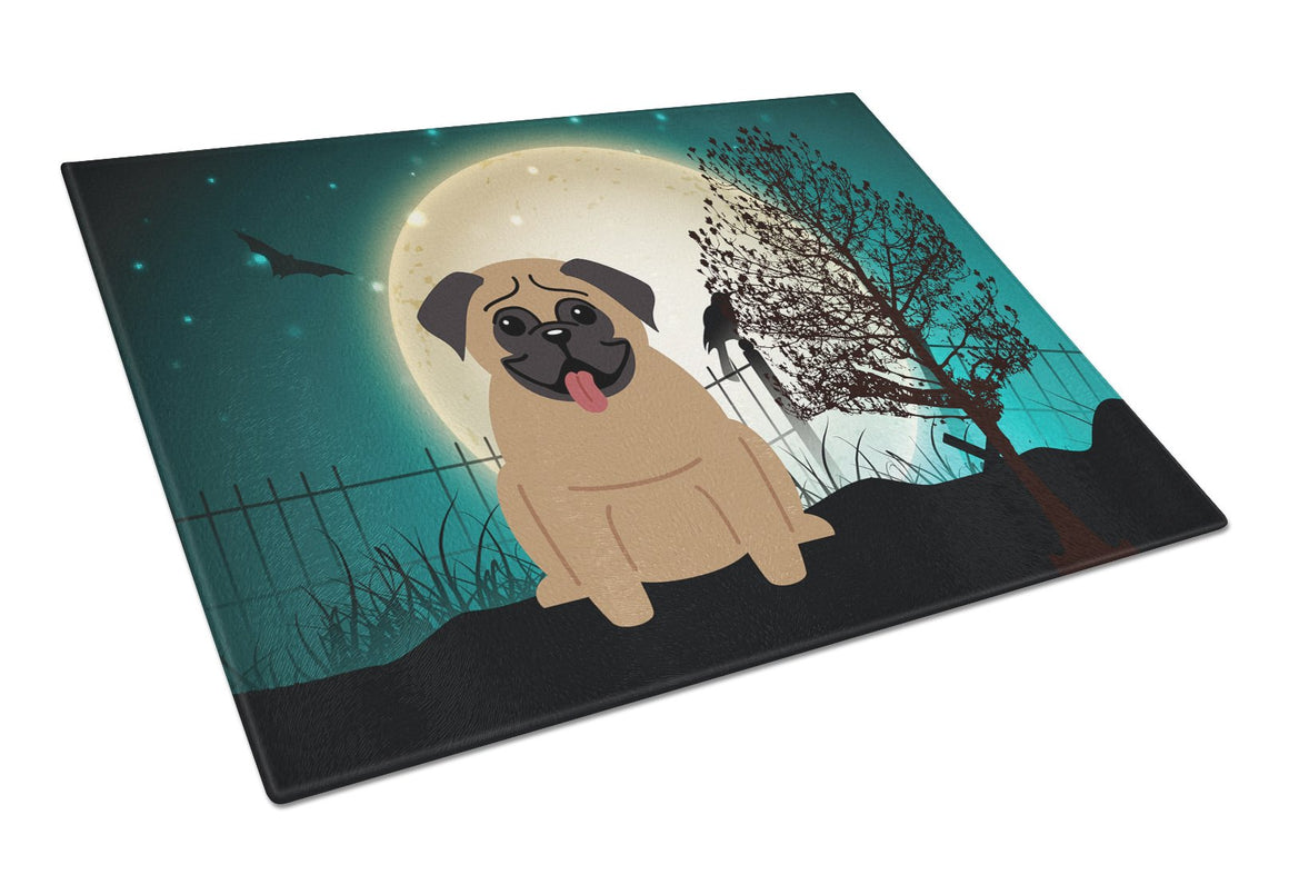 Buy this Halloween Scary Pug Brown Glass Cutting Board Large BB2195LCB