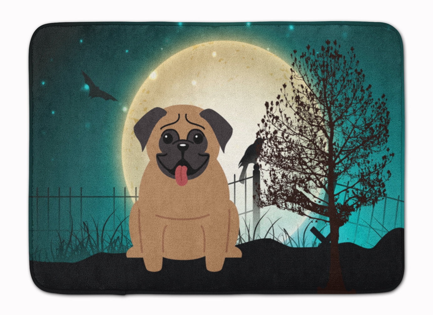 Halloween Scary Pug Brown Machine Washable Memory Foam Mat BB2195RUG by Caroline's Treasures