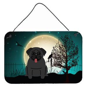 Buy this Halloween Scary Pug Black Wall or Door Hanging Prints BB2196DS812