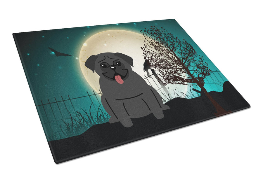 Buy this Halloween Scary Pug Black Glass Cutting Board Large BB2196LCB