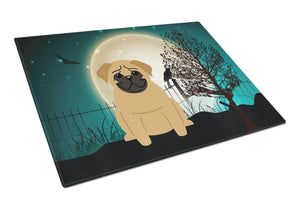Buy this Halloween Scary Pug Brown Glass Cutting Board Large BB2197LCB
