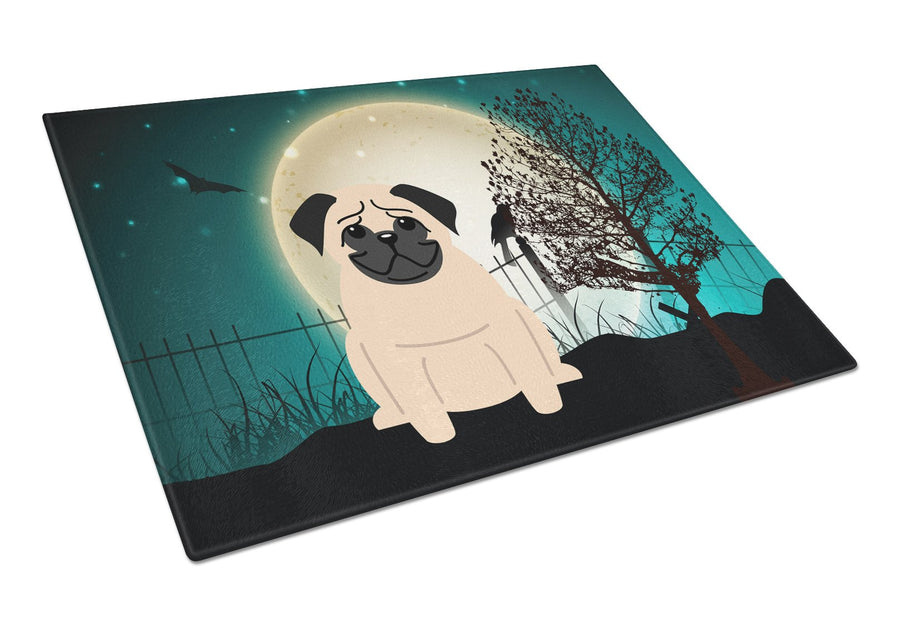 Buy this Halloween Scary Pug Fawn Glass Cutting Board Large BB2198LCB