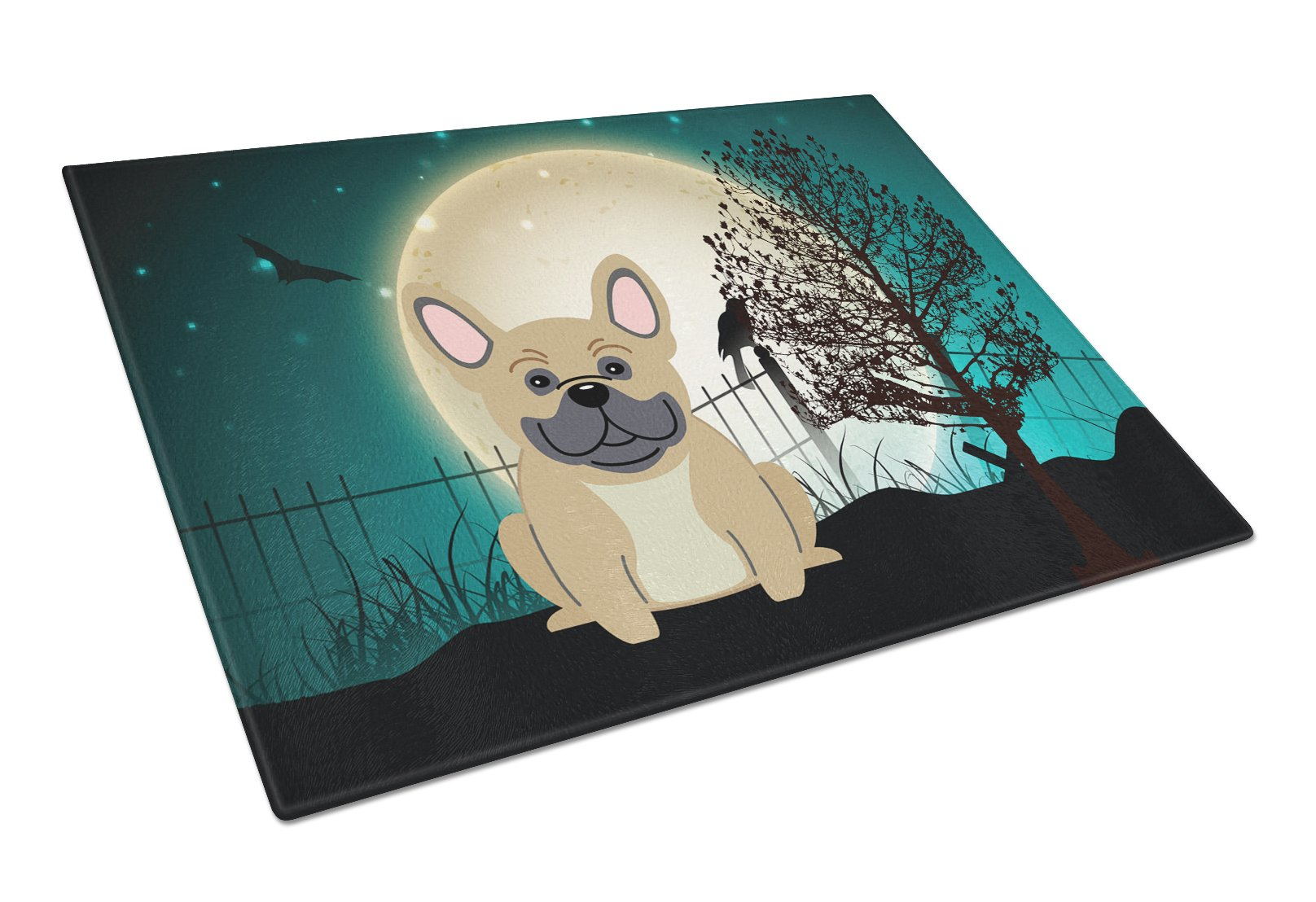 Halloween Scary French Bulldog Cream Glass Cutting Board Large BB2200LCB by Caroline's Treasures