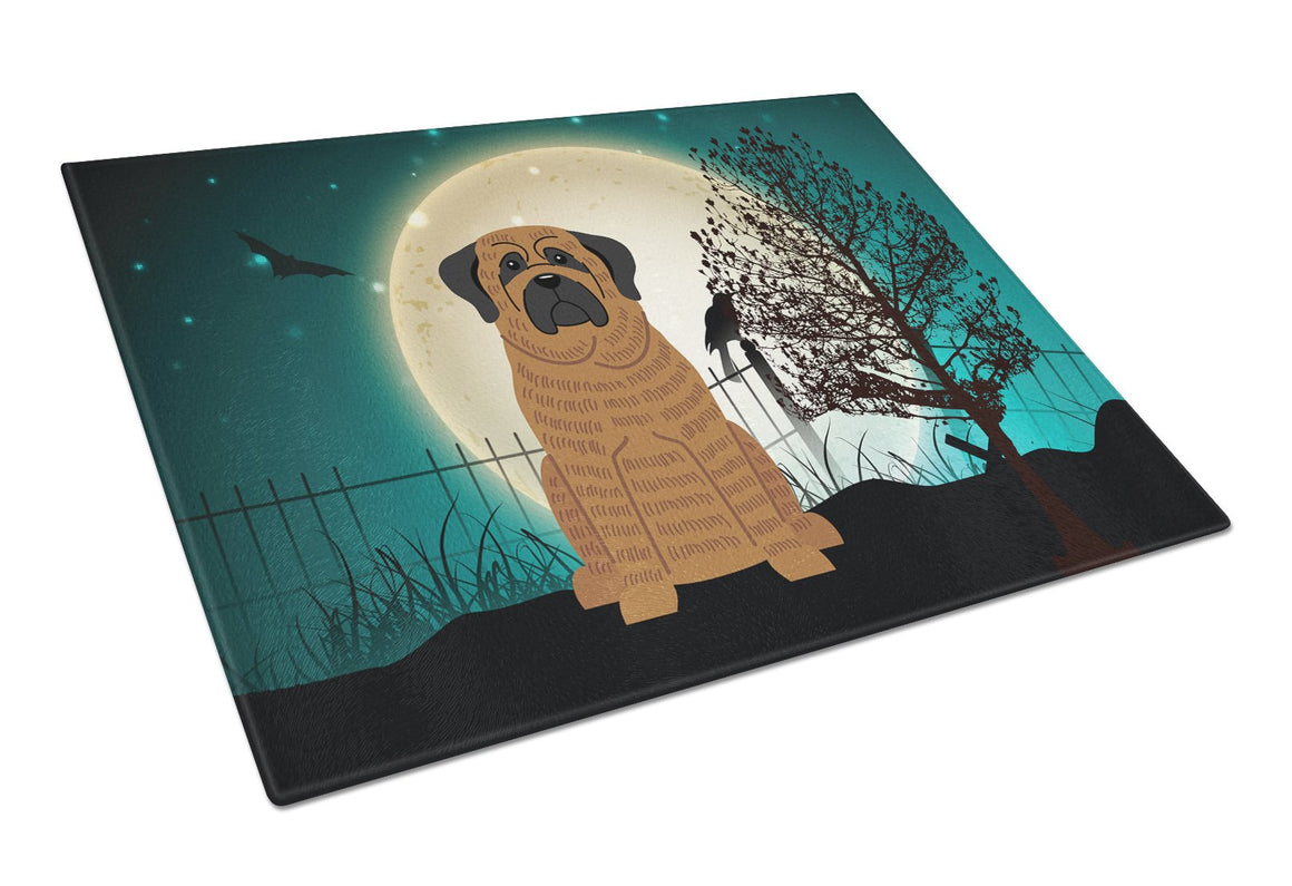Buy this Halloween Scary Mastiff Brindle Glass Cutting Board Large BB2205LCB