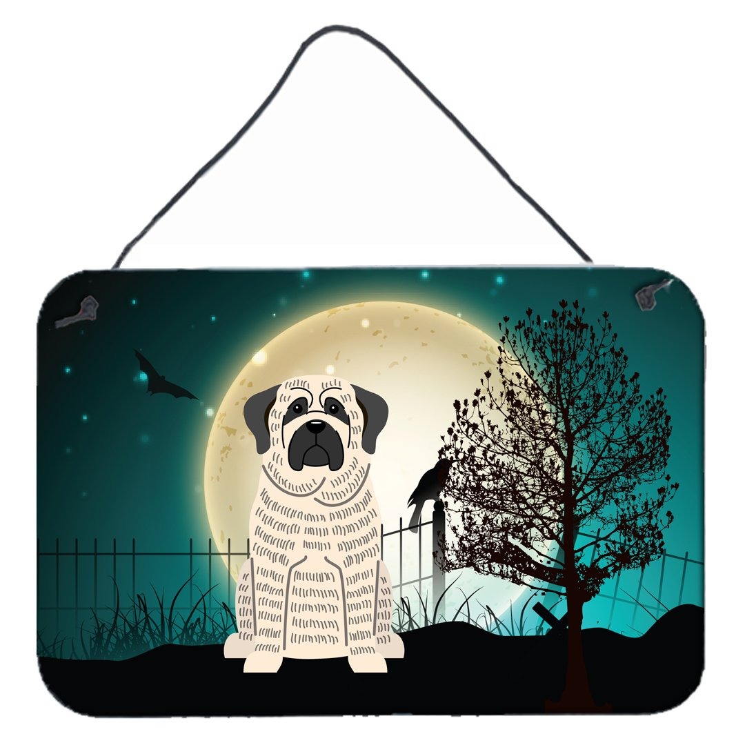 Halloween Scary Mastiff Brindle White Wall or Door Hanging Prints BB2206DS812 by Caroline's Treasures