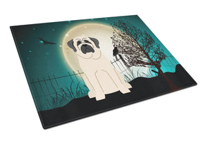Buy this Halloween Scary Mastiff White Glass Cutting Board Large BB2207LCB