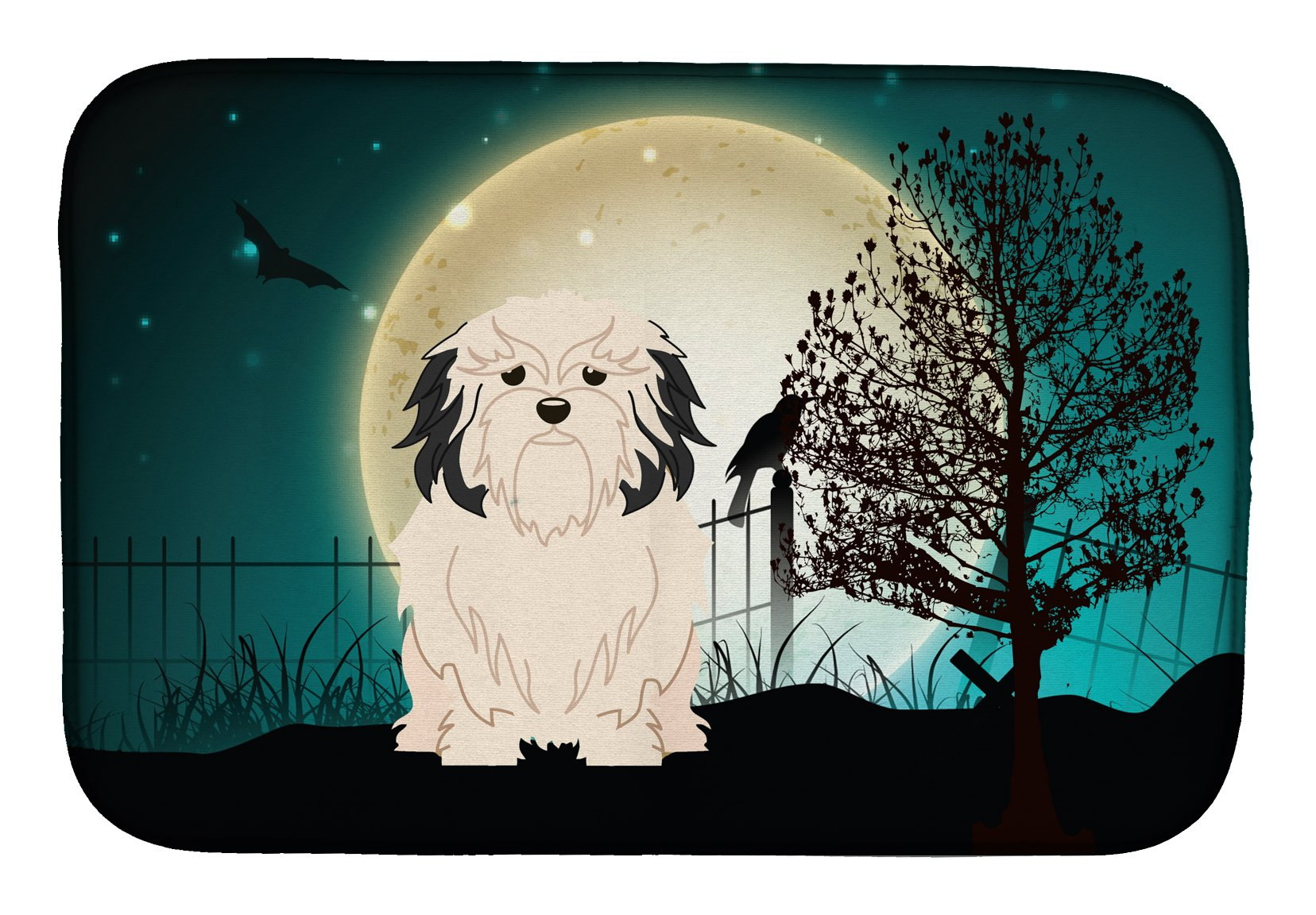 Buy this Halloween Scary Lowchen Dish Drying Mat BB2209DDM