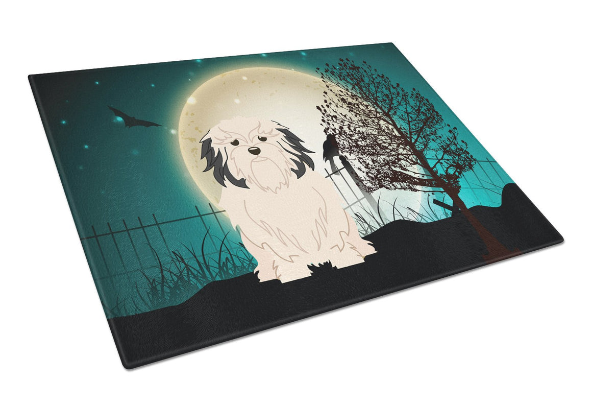 Buy this Halloween Scary Lowchen Glass Cutting Board Large BB2209LCB