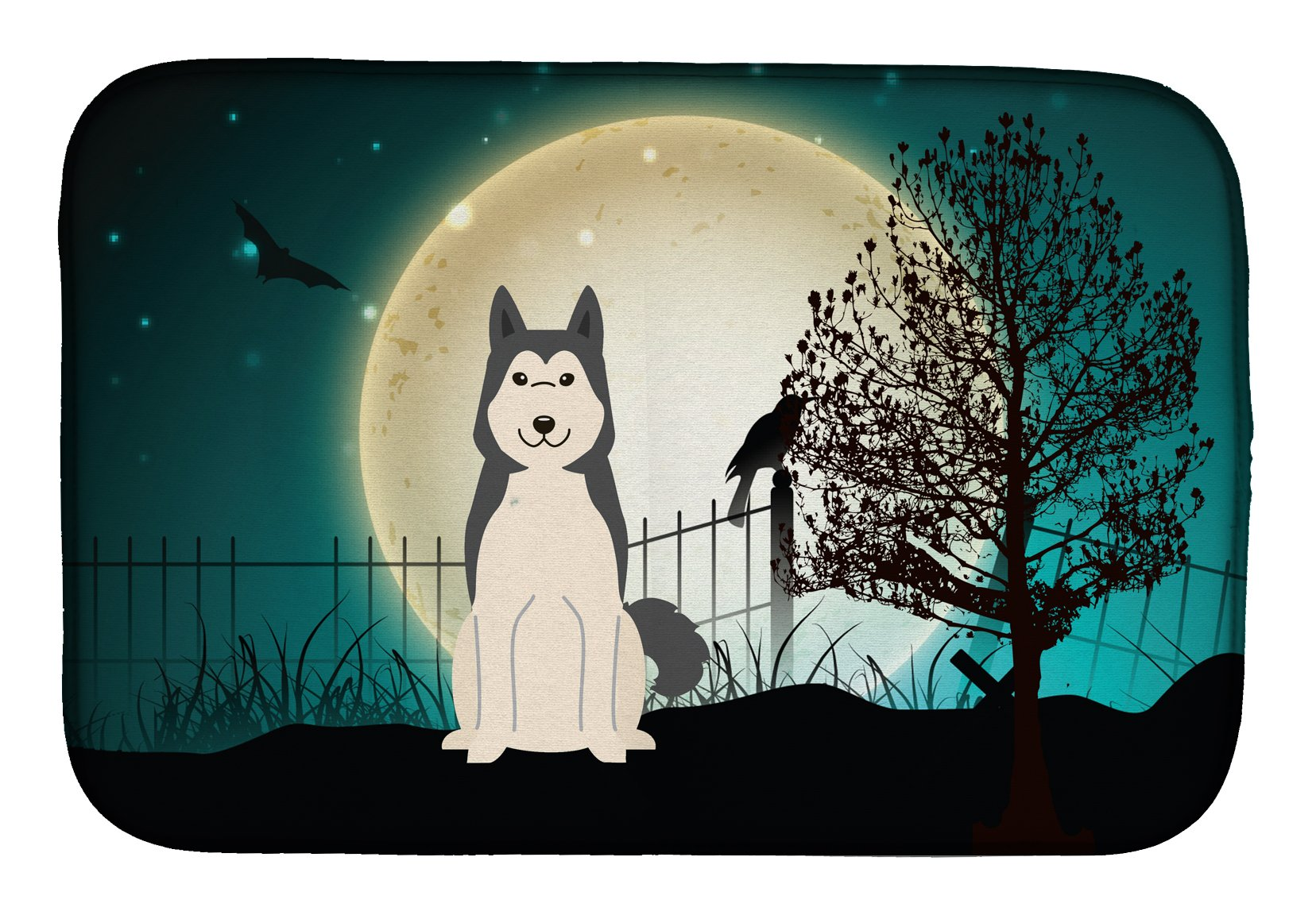 Halloween Scary West Siberian Laika Spitz Dish Drying Mat BB2215DDM by Caroline's Treasures