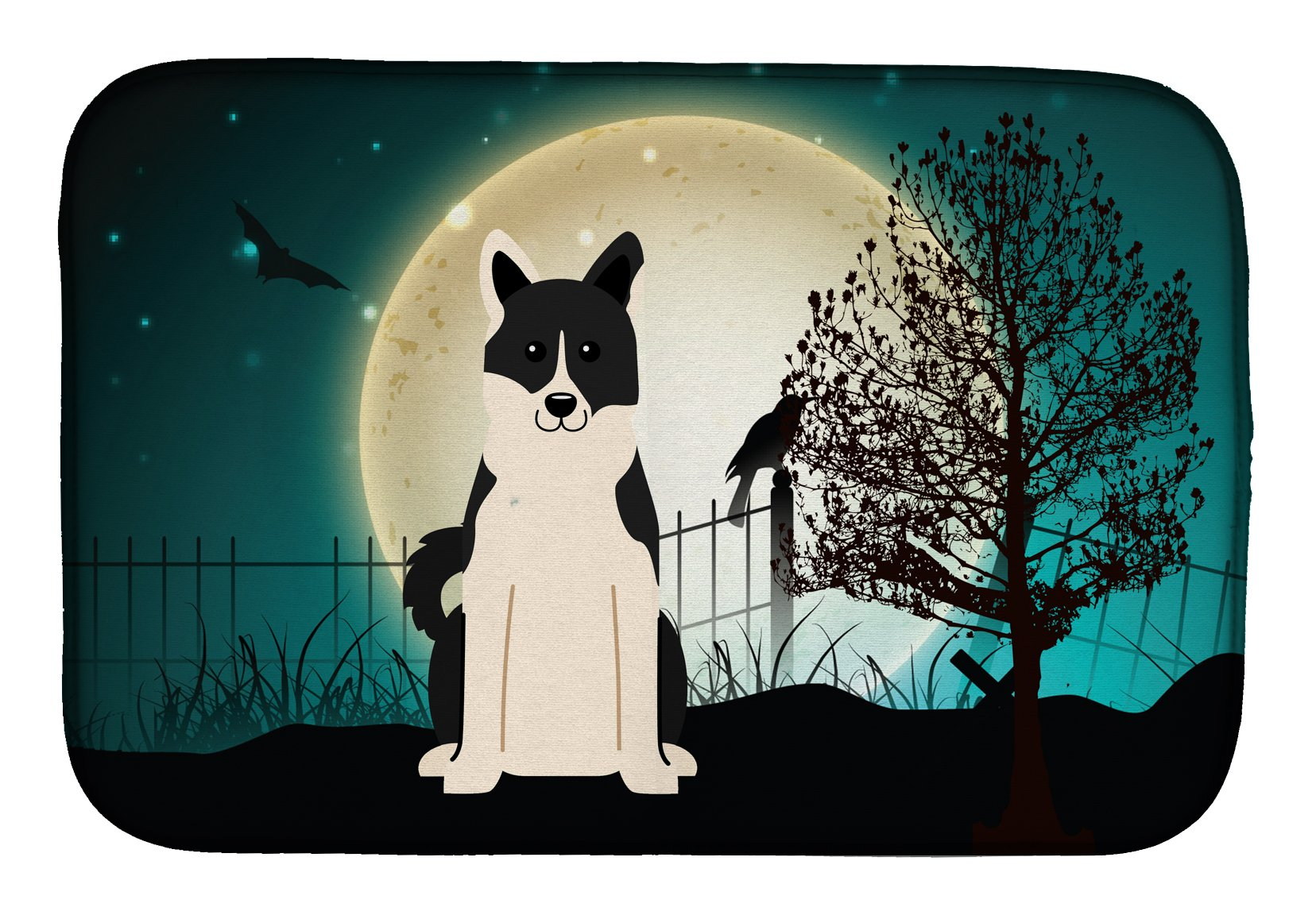 Halloween Scary Russo-European Laika Spitz Dish Drying Mat BB2219DDM by Caroline's Treasures