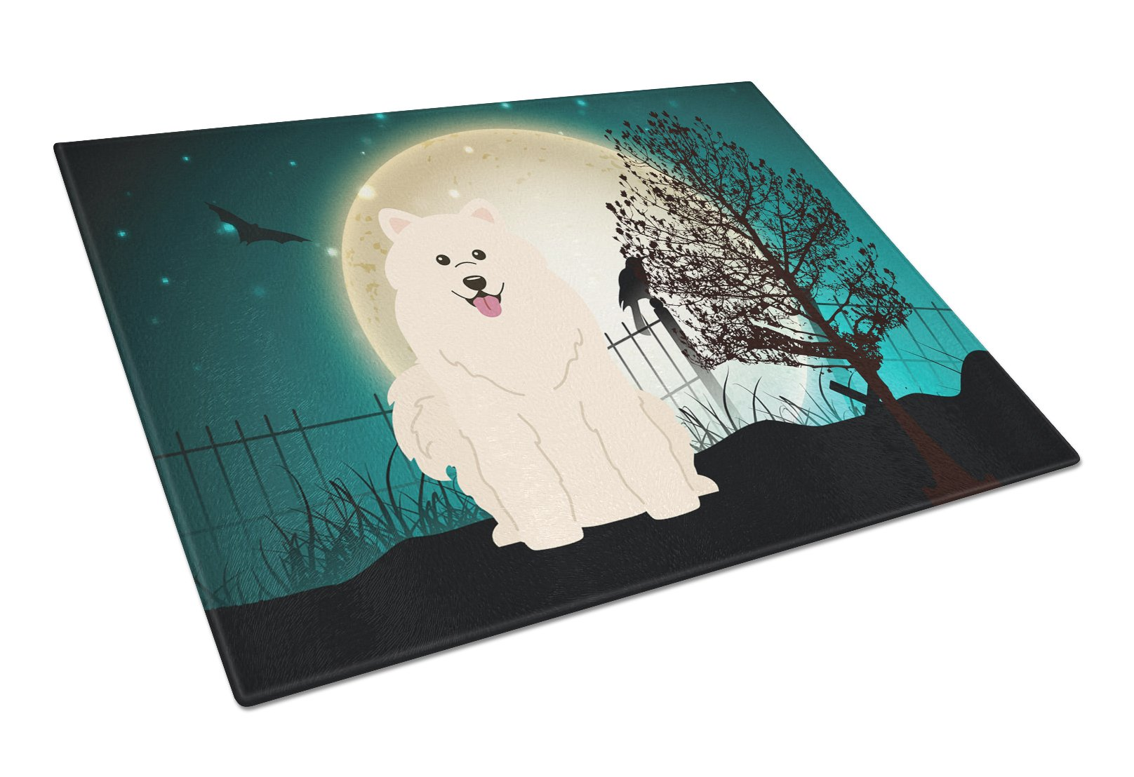 Buy this Halloween Scary Samoyed Glass Cutting Board Large BB2220LCB