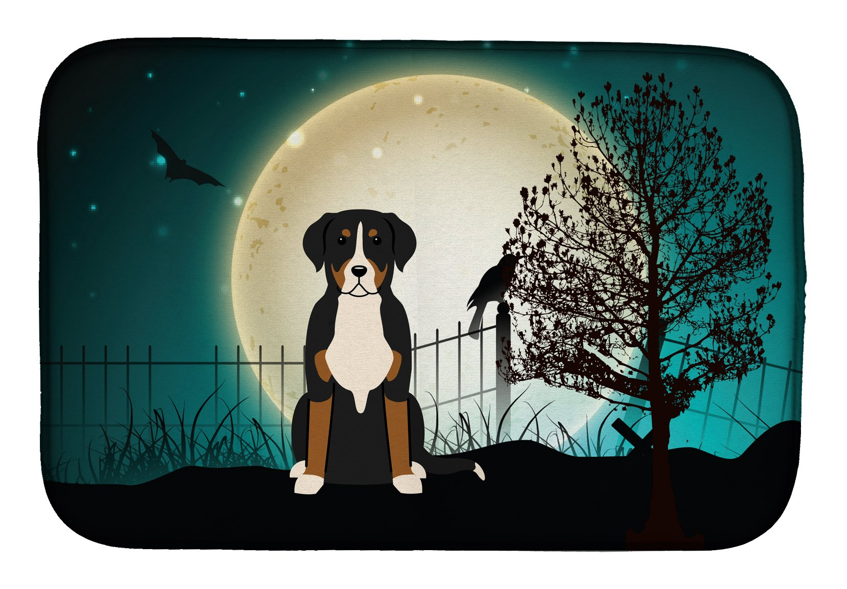 Halloween Scary Greater Swiss Mountain Dog Dish Drying Mat BB2227DDM by Caroline's Treasures
