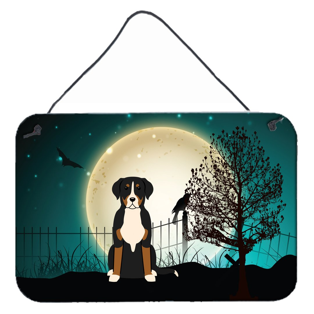 Halloween Scary Greater Swiss Mountain Dog Wall or Door Hanging Prints BB2227DS812 by Caroline's Treasures