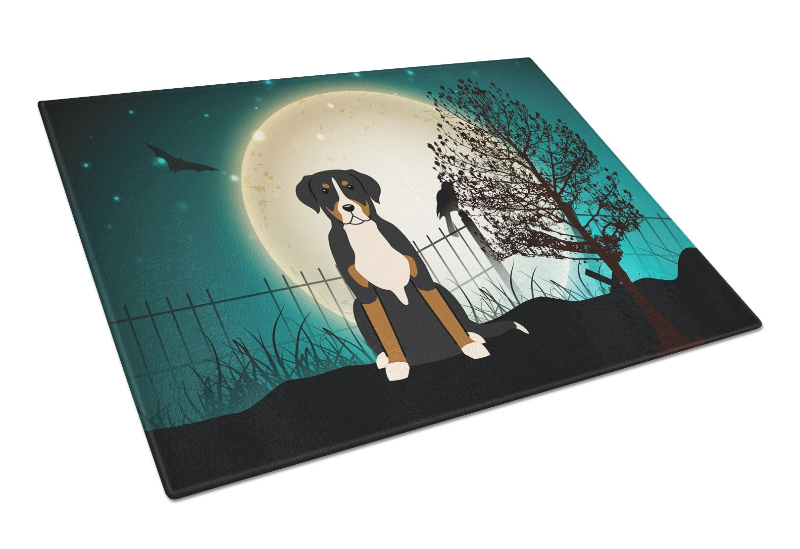 Halloween Scary Greater Swiss Mountain Dog Glass Cutting Board Large BB2227LCB by Caroline's Treasures