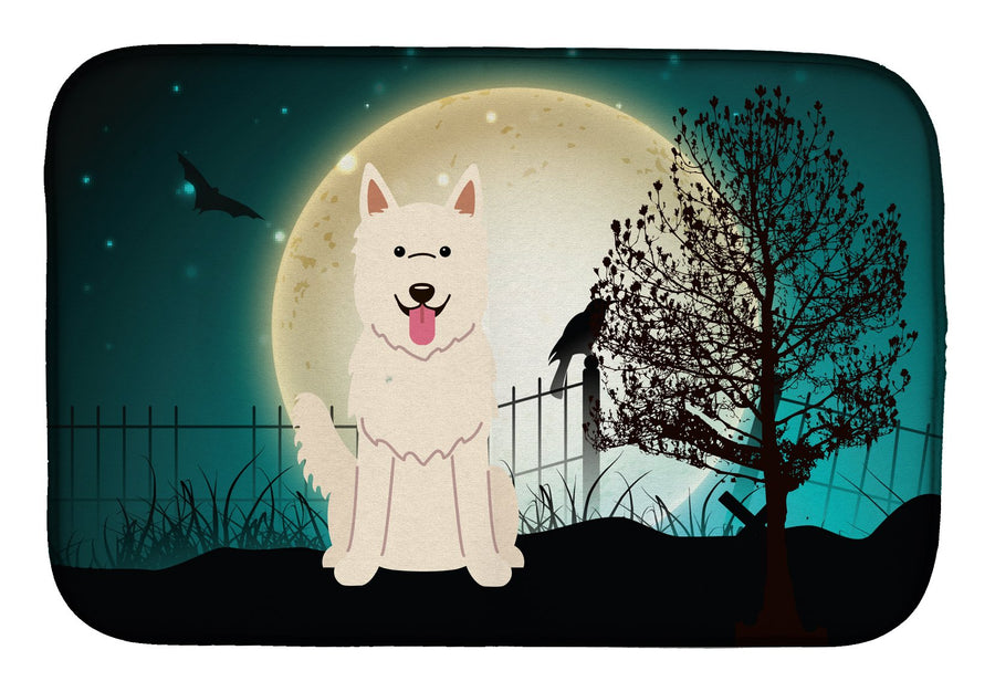 Buy this Halloween Scary White German Shepherd Dish Drying Mat BB2235DDM