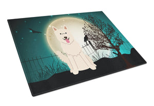 Buy this Halloween Scary White German Shepherd Glass Cutting Board Large BB2235LCB