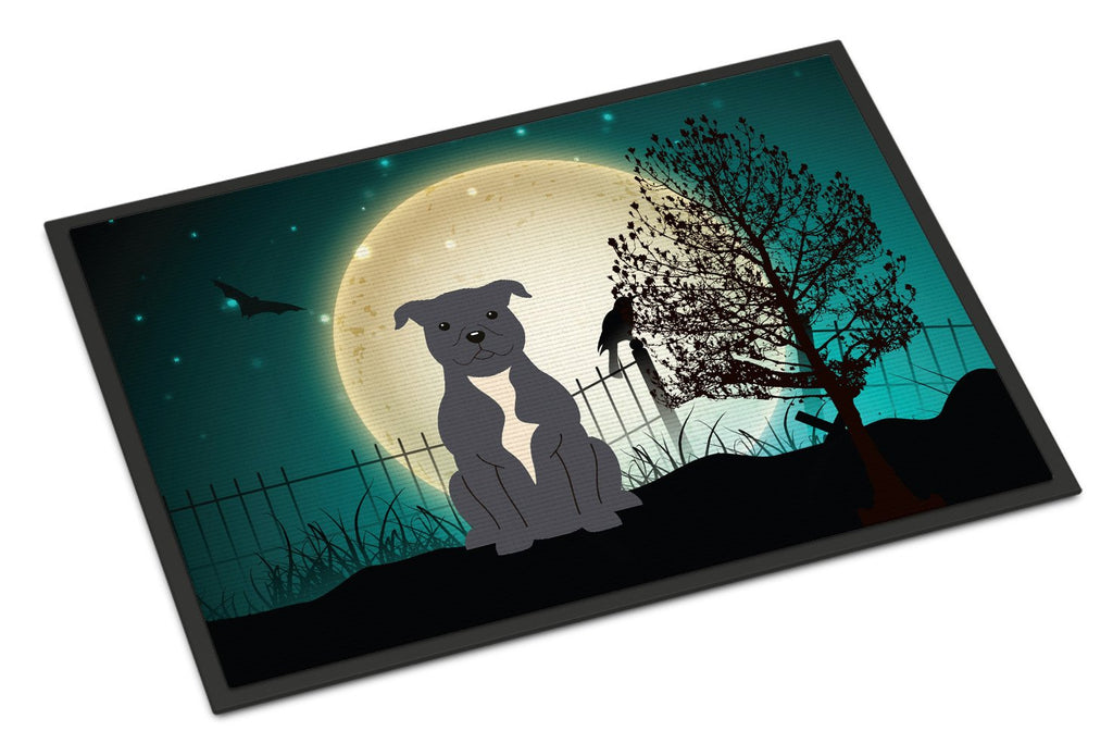 Buy this Halloween Scary Staffordshire Bull Terrier Blue Indoor or Outdoor Mat 18x27 BB2236MAT