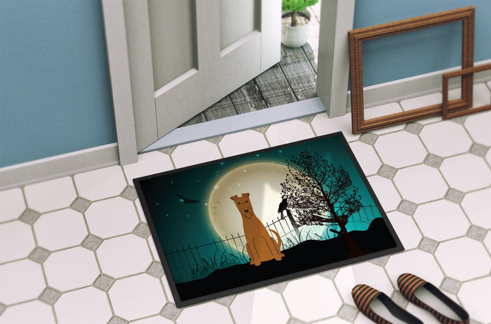 Halloween Scary Irish Terrier Indoor or Outdoor Mat 24x36 BB2252JMAT by Caroline's Treasures