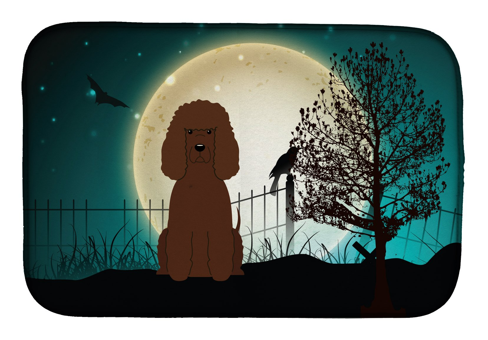 Buy this Halloween Scary Irish Water Spaniel Dish Drying Mat BB2253DDM