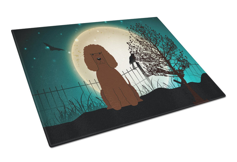 Buy this Halloween Scary Irish Water Spaniel Glass Cutting Board Large BB2253LCB