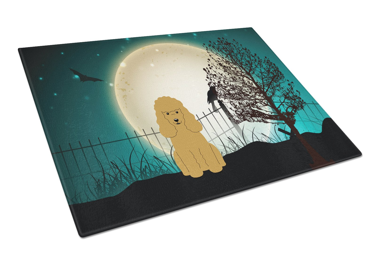 Halloween Scary Poodle Tan Glass Cutting Board Large BB2259LCB by Caroline's Treasures