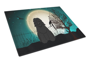 Buy this Halloween Scary Bouvier des Flandres Glass Cutting Board Large BB2264LCB