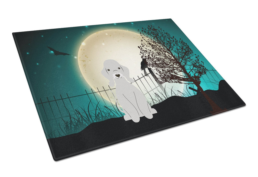 Buy this Halloween Scary Bedlington Terrier Blue Glass Cutting Board Large BB2280LCB