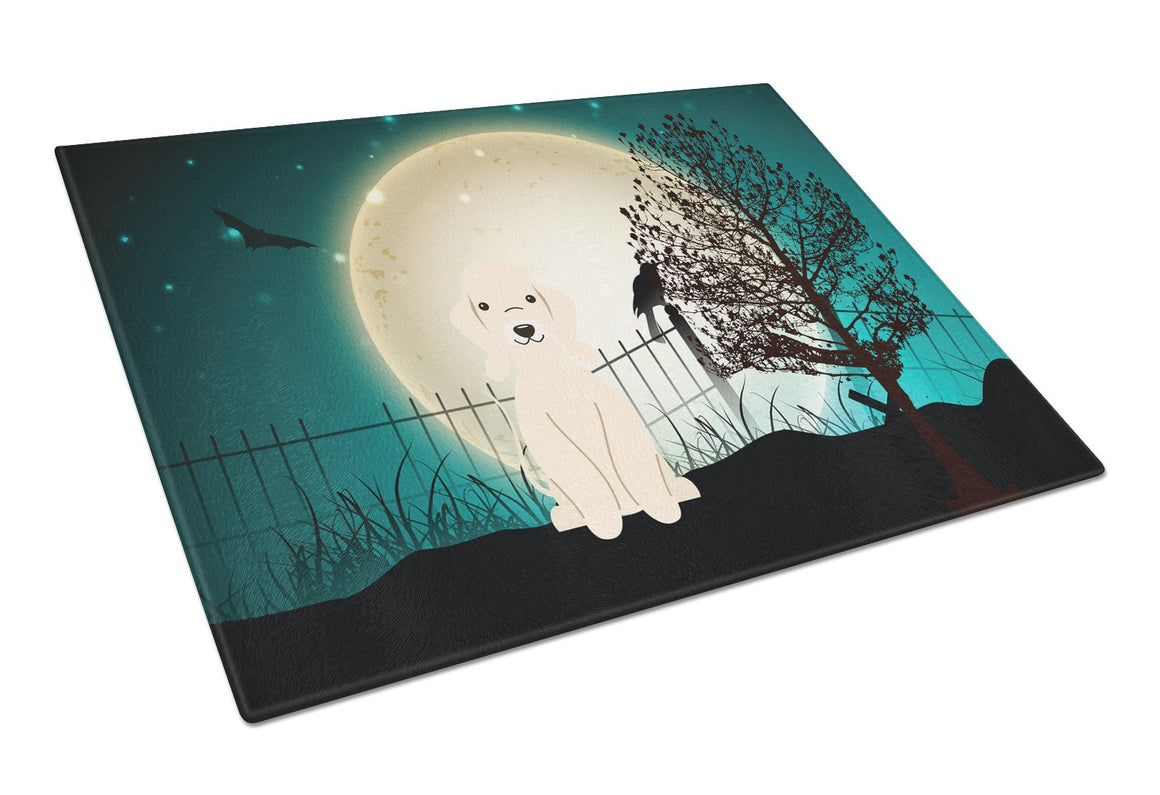 Buy this Halloween Scary Bedlington Terrier Sandy Glass Cutting Board Large BB2281LCB