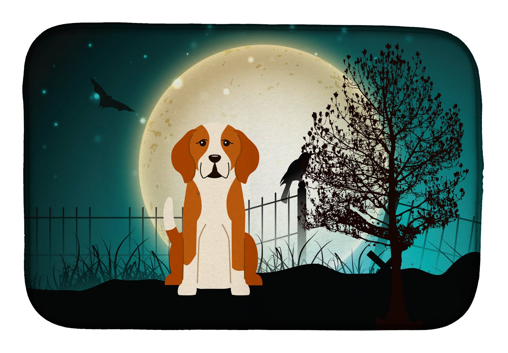 Halloween Scary English Foxhound Dish Drying Mat BB2300DDM by Caroline's Treasures