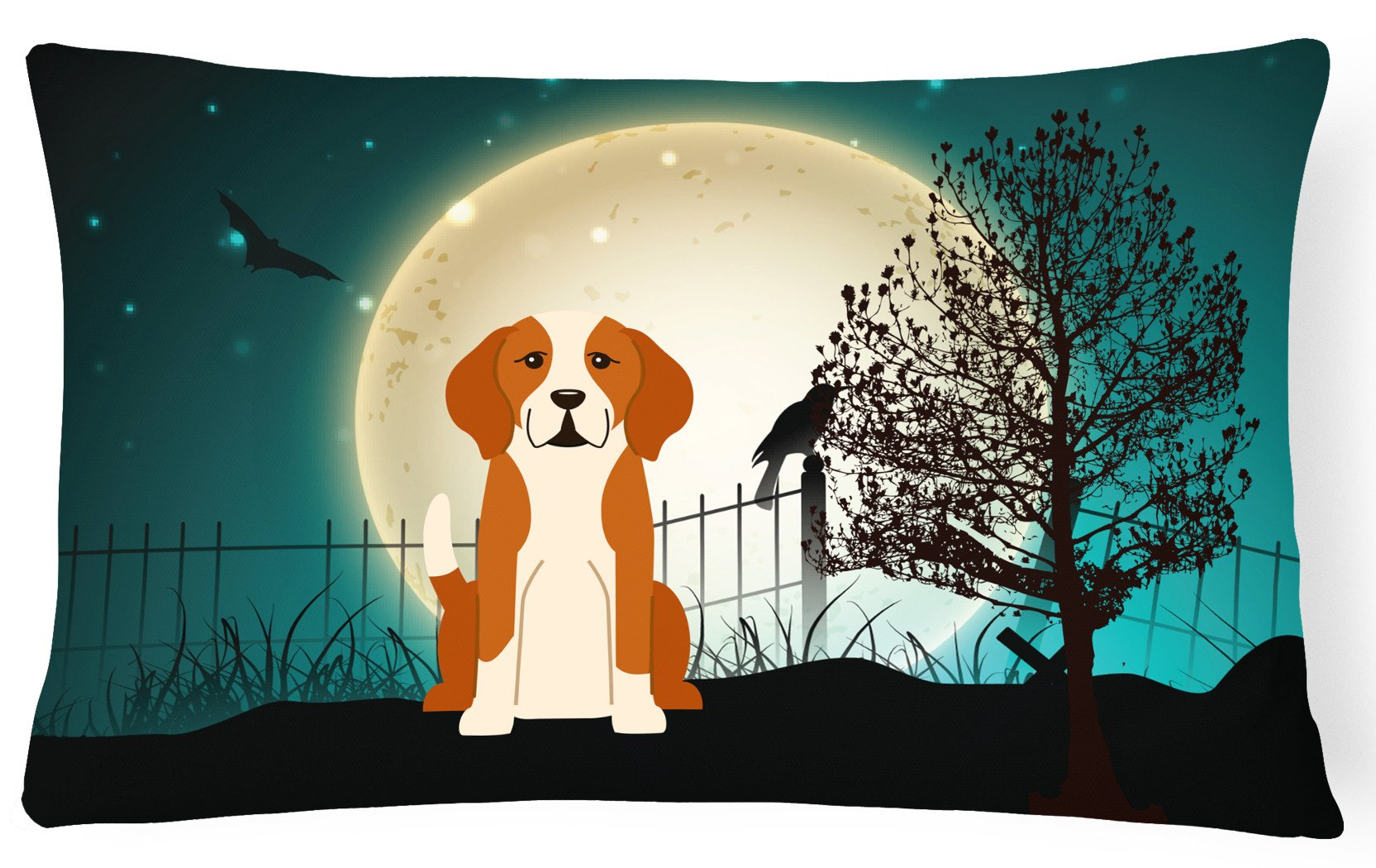 Halloween Scary English Foxhound Canvas Fabric Decorative Pillow BB2300PW1216 by Caroline's Treasures