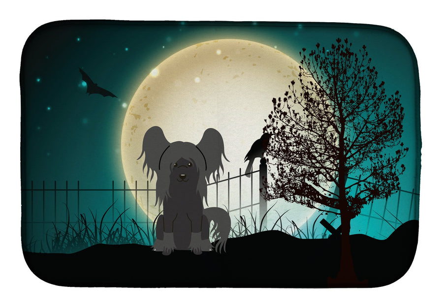 Buy this Halloween Scary Chinese Crested Black Dish Drying Mat BB2302DDM