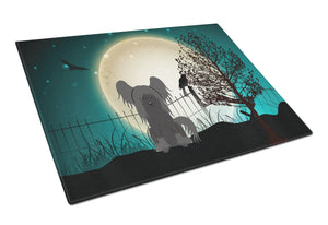 Buy this Halloween Scary Chinese Crested Black Glass Cutting Board Large BB2302LCB