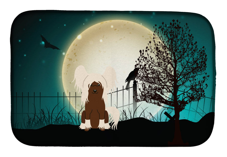 Buy this Halloween Scary Chinese Crested Cream Dish Drying Mat BB2303DDM