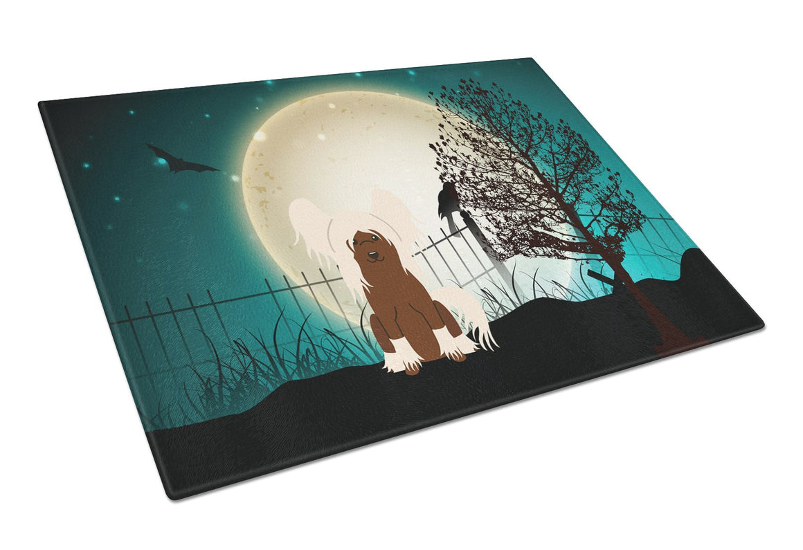 Buy this Halloween Scary Chinese Crested Cream Glass Cutting Board Large BB2303LCB