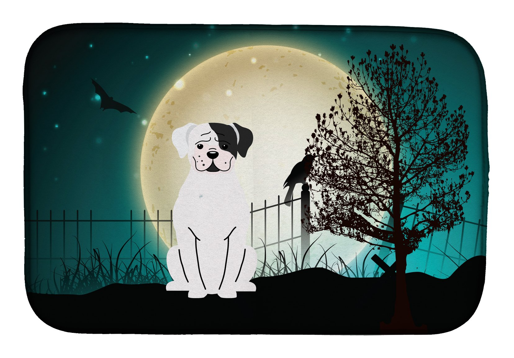 Halloween Scary White Boxer Cooper Dish Drying Mat BB2304DDM by Caroline's Treasures